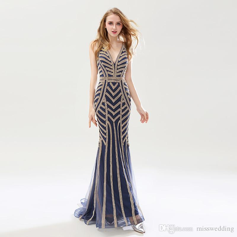 2018 Hot Selling Beauty Silver Beading Mermaid Evening Dresses Sexy Tulle V  Neck Long Women Important Party Dress Luxury Prom Gowns Evening Dress  Sewing ... ada6b3168558
