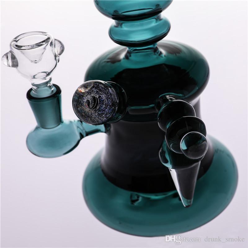 Glass Bong Hunter Green New Cyclone-Helix Fashion Smoking Bongs Water Pipes Beaker Bubbler Handhold New style