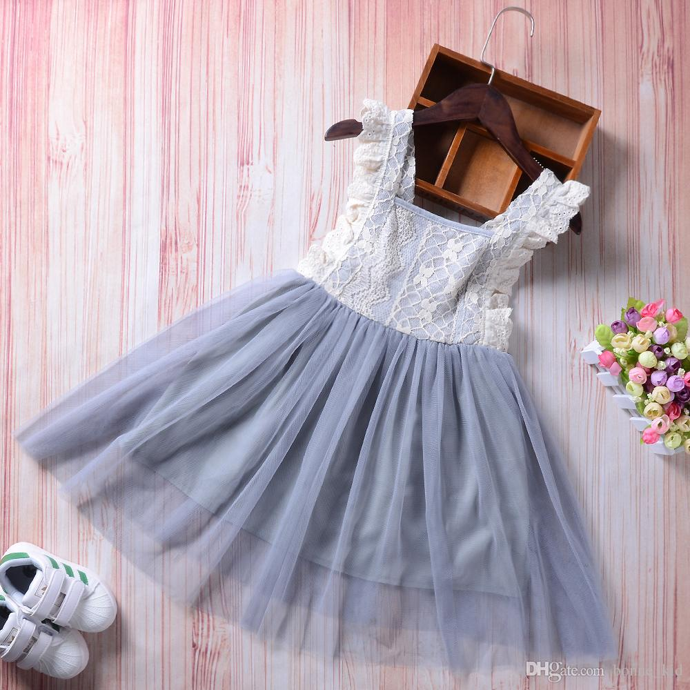 New Brand Baby Girl Lace Princess Tutu Dress Gray Sleeveless Sundress  Bowknot Solid Party Pageant Dresses Cute Girls Clothes 2 7Y UK 2019 From  Bonne kid 1806d5707523