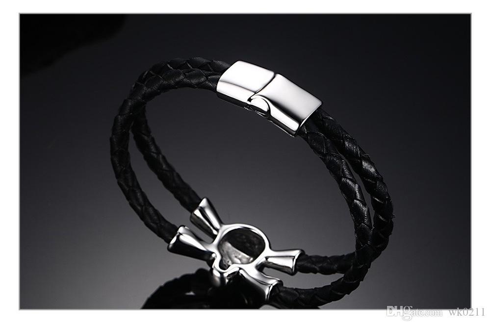 WK Acier inoxydable Crâne Charme Bracelet Hommes Bijoux Cool Noir Tressé Véritable Cuir Bracelets Bracelets