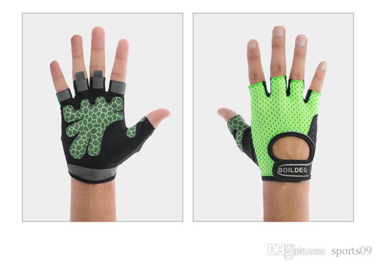 BOODUN Gimnasio antideslizante Groves Ahueca hacia fuera medio dedo guantes Hombres Mujeres Dumbbell Transpirable Crossfit Levantamiento de pesas Fitness Barbell Gloves