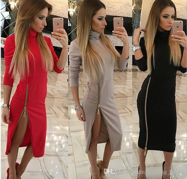 8f1ee5349 Women High Collar Hip Zipper Split Long Slleeve Party Wear Long ...