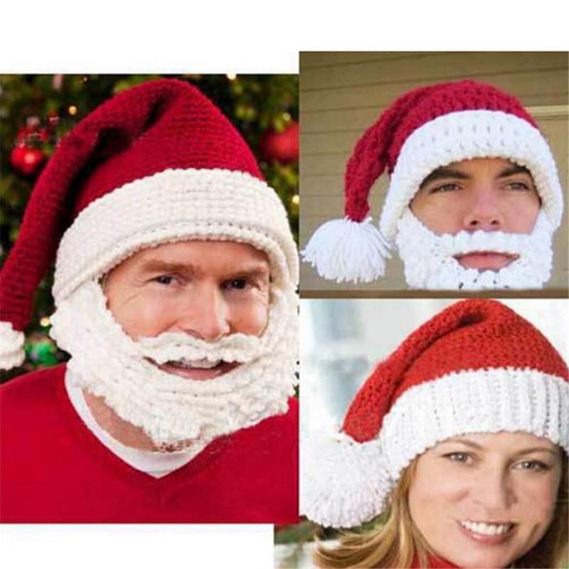 Knitting Christmas Hat Creative Beard Handmade Hat Beanie Knitting ...