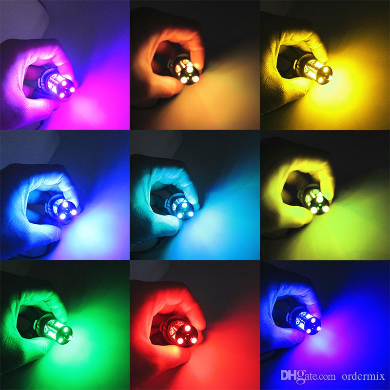 2 stücke h1 h3 h4 9005 9006 h11 h7 rgb led auto auto scheinwerfer 5050 led 27smd blitz led nebelscheinwerfer kopf lampe mit fernbedienung