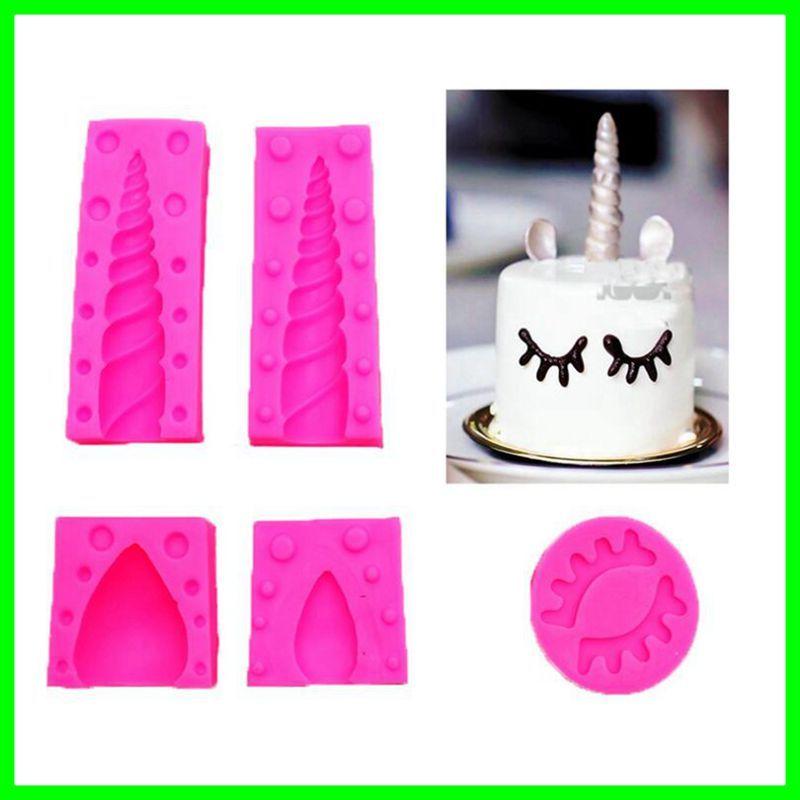 Grosshandel 5 Teile Satz Einhorn Silikon Kuchen Topper Formen