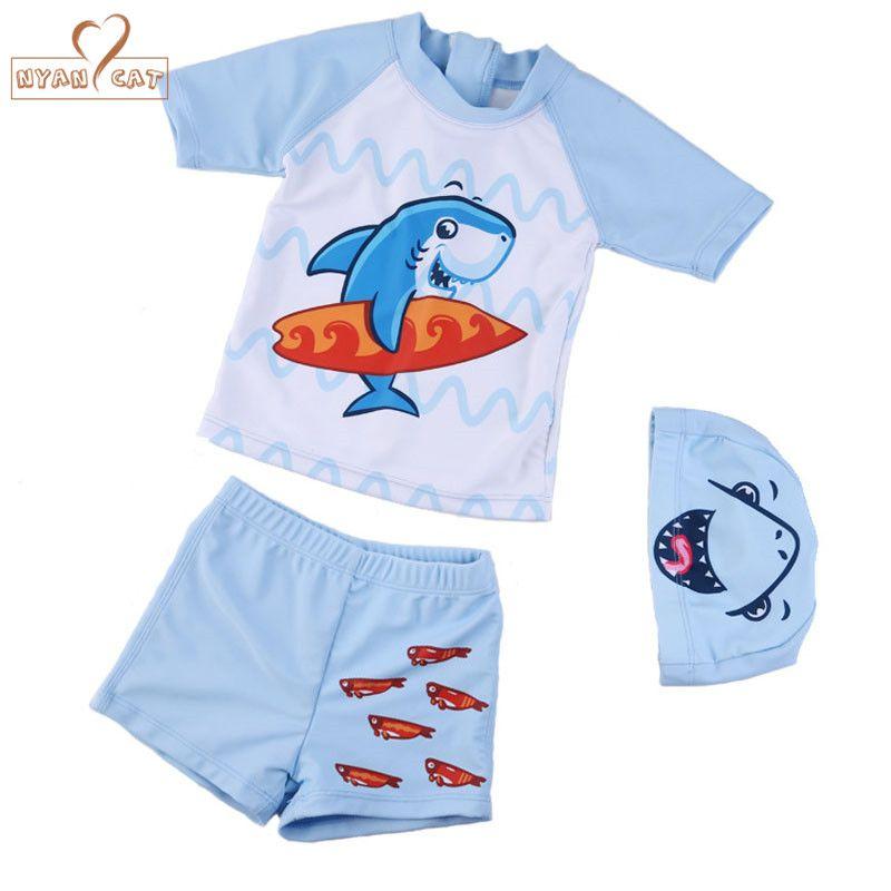 cd7e700416 Nyan Cat Shark paern boy swimsuit quick drying kids baby boy swim trunk  shorts+ cap+ shirt set child swimwear boys beach wear