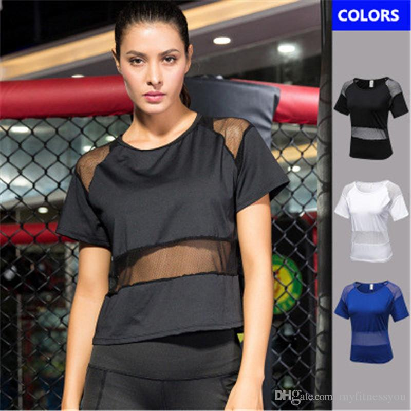 High Quality Sexy Mesh Yoga Tops Women Sport T Shirt Loose Fitness Gym  Sport Clothing Ladies Sportswear Workout Running Gym Wear Female Vest UK  2019 From ... db475dc9e