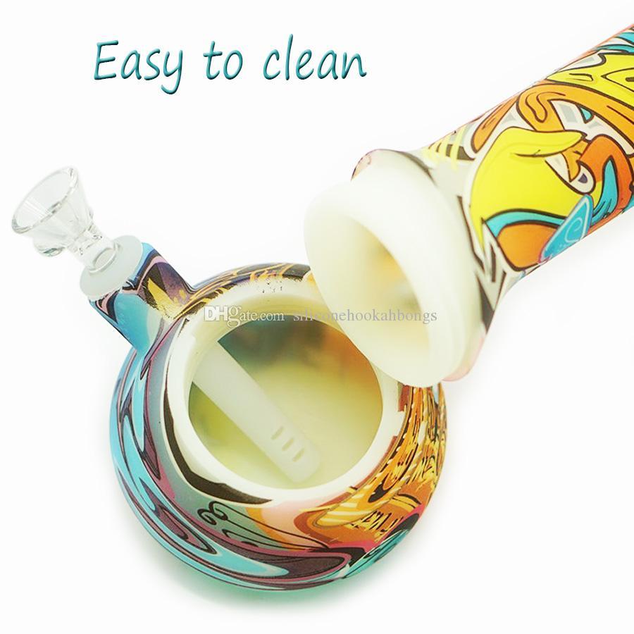 Fulgor na base de copo escuro 13,5 '' de altura de silicone Água pipe água bongs vidro impressão de vidro precipitada fumar tubo de água