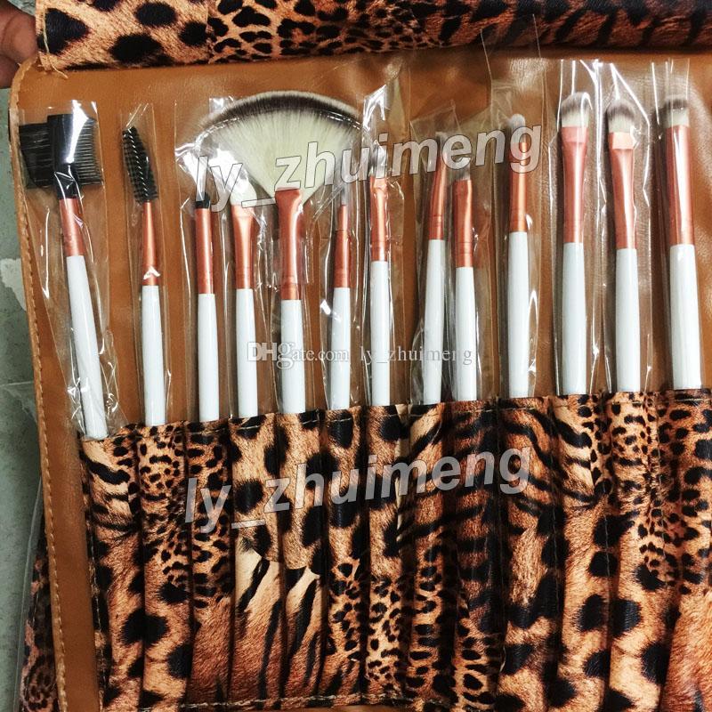 NEW Makeup Brush Set Leopard Bag Professional Brushes Kit Foundation Brush Make up Set face cosmetics Brush Eye shadow Blush brushes