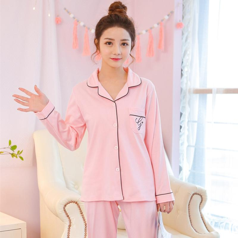 5297ca8cc3 100% Cotton Casual Solid Indoor Clothing Pajamas Sets For Women 2018 Autumn  Winter Homewear Long Sleeve Pyjama Loungewear Pijama UK 2019 From  Bright689