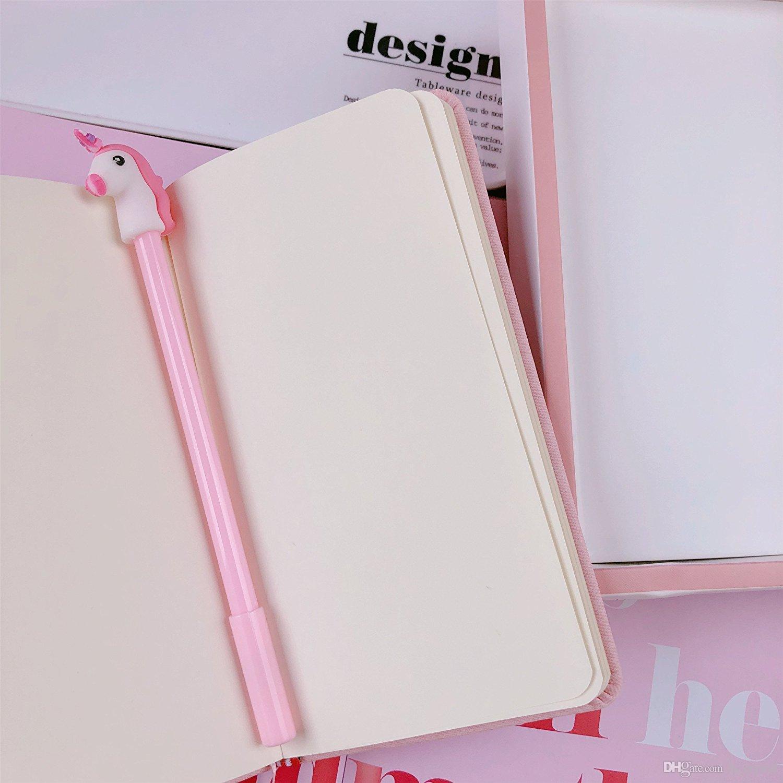 Rose Licorne Flamingo Cactus Box Notebook Set Journal avec Gel Pen Papeterie Fournitures Scolaires Cadeau pour Filles Enfants Étudiants WJ016