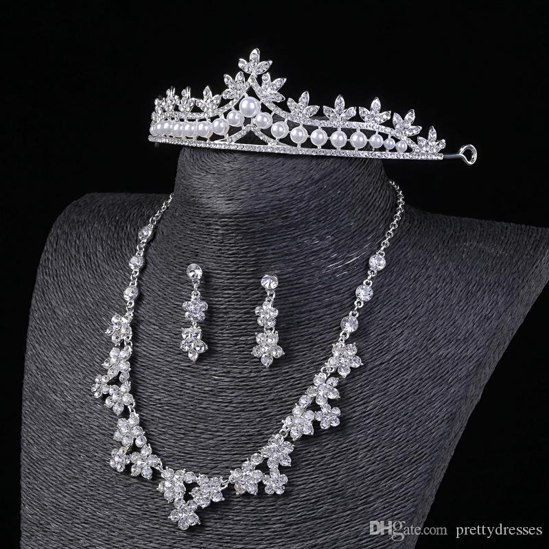 Bling Bling Cheap Bridal Jewelry Set Three Piece Crown Earring Necklace Jewelry Wedding Party Accessories For Female