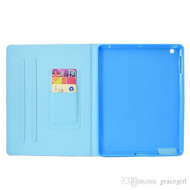 "Cartoon Wallet Leather Case For Ipad Mini 1 2 3 4 Air 5 6 9.7"" 2017 2018 Ipad Pro 10.5"" Smart Cactus Owl Flamingos Tree Eye Skin Cover"