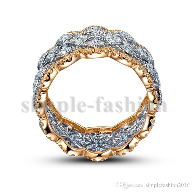 Luxury Wide Circle Women wedding band Rings Rose Gold 925 Sterling silver Fashion Small Round 5A zircon cz Ring Jewelry