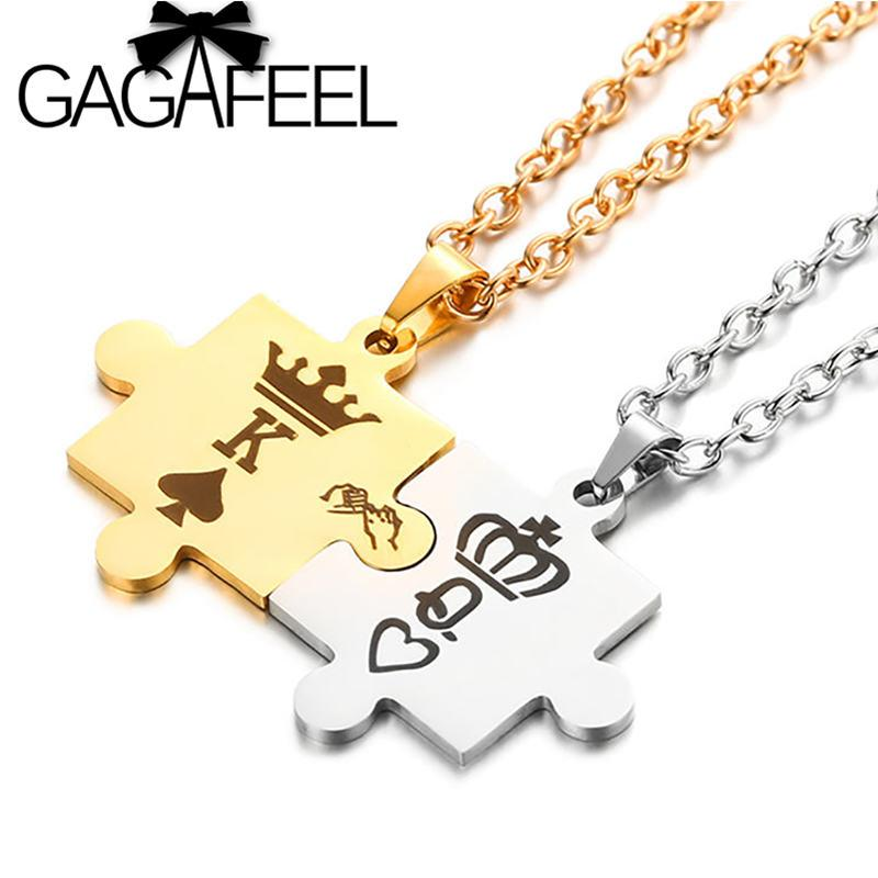 d5ee8af85f GAGAFEEL King&Queen Couple Necklaces with Crown Letter K&Q Stainless Steel Tag  Pendant Necklace for Lovers' Romantic Gift