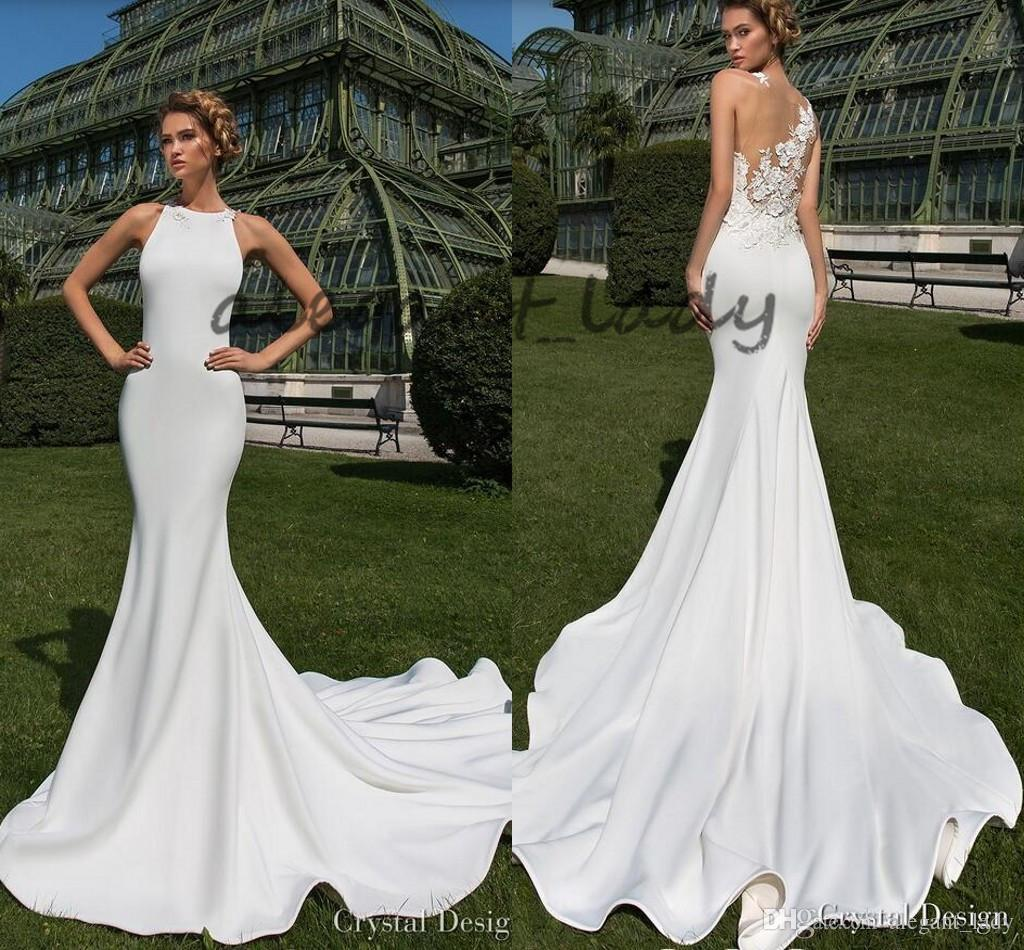 Modest Matte Stain Garden Mermaid Wedding Dresses Sheer Back with 3D Floral Lace Jewel Crystal Design Trumpet Outdoor Bridal Dress