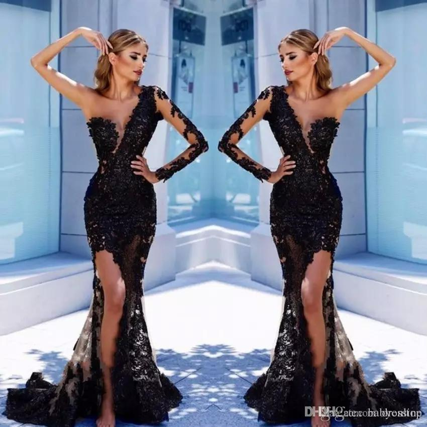 2155fcb569dd Elegant One Shoulder Black Lace Evening Gowns 2018 Sexy Illusion Bodice  Mermaid Prom Dresses Thigh Split Arabic Vestidos De Fiesta Pageant Classy  Evening ...