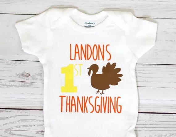 Personalize Turkey Coming Home Outfit Thanksgiving Baby Shower Bodysuit Onepiece Romper Kids T Shirts Birthday Tees Awesome Wedding Favors