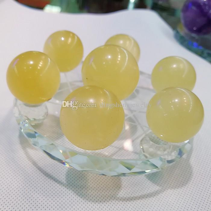 Iceland Spar Crystal ball seven star array plate group yellow calcite sphere stand Healing natural Mineral healing reiki fengshui