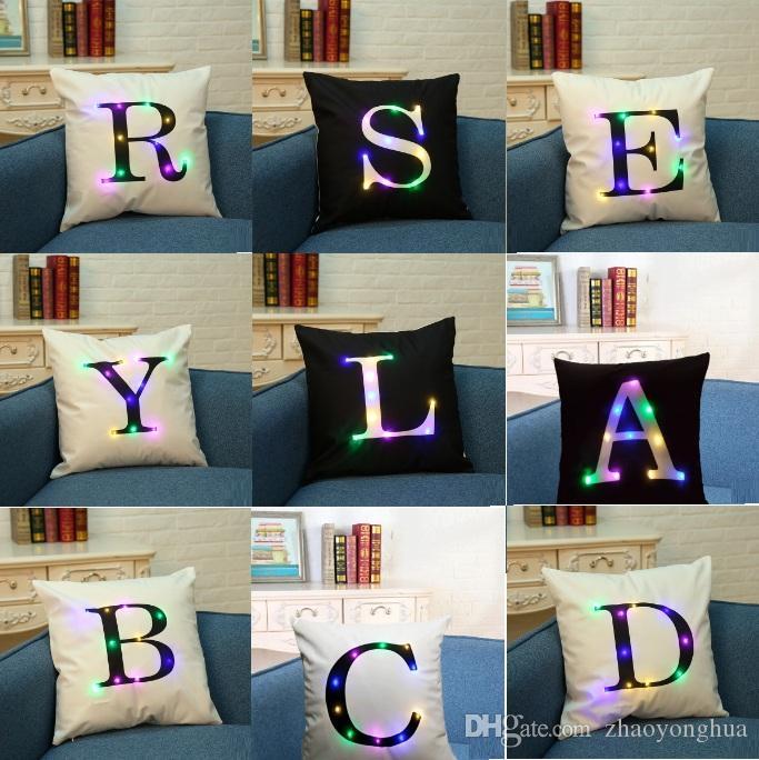 2018 Letter Pillow Case 45*45cm LED Light Pillows Cushion Cover Light Up Pillowcase Car Home Sofa Decoration