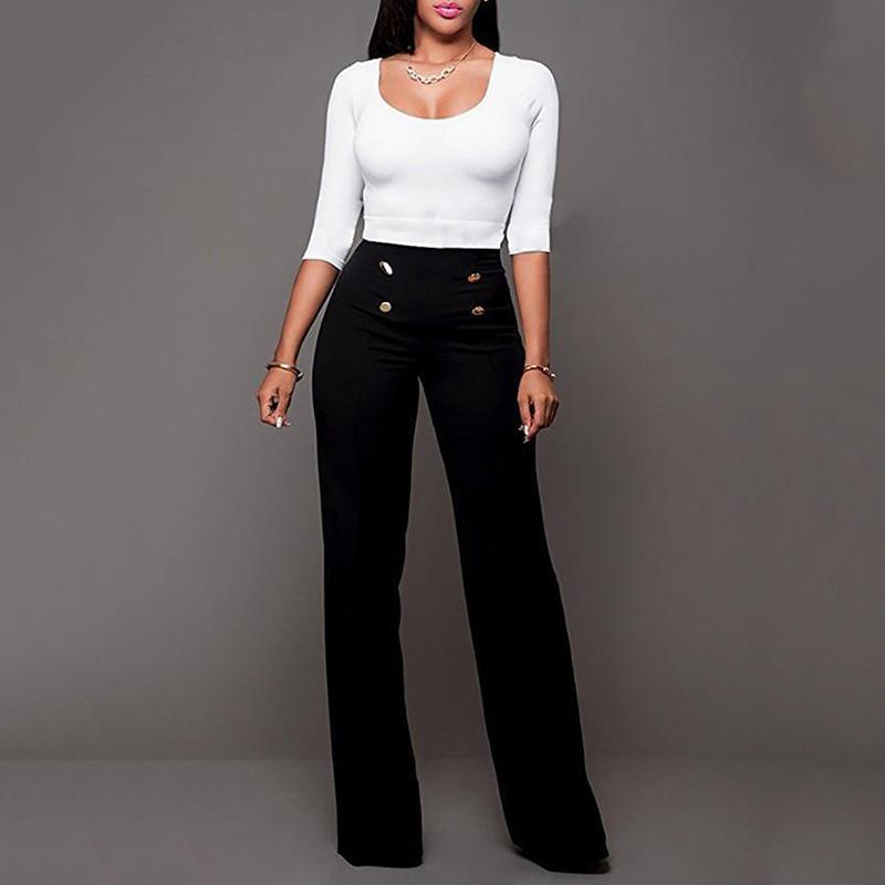 Acquista Pantaloni Donna Dritto 2019 Blu Moda Pantaloni Casual A Vita Alta  Casual Pantaloni Leggings Slim Plus Size A  27.19 Dal Feeling05  ae88d2c7069d