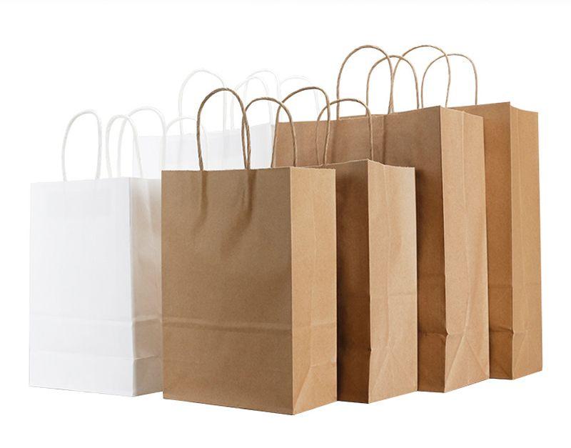 عالية الجودة كرافت ورقة حقيبة مع مقابض بيضاء أكياس تغليف هدايا لحفل زفاف عيد ميلاد الحزب أكياس الورق أكياس التسوق