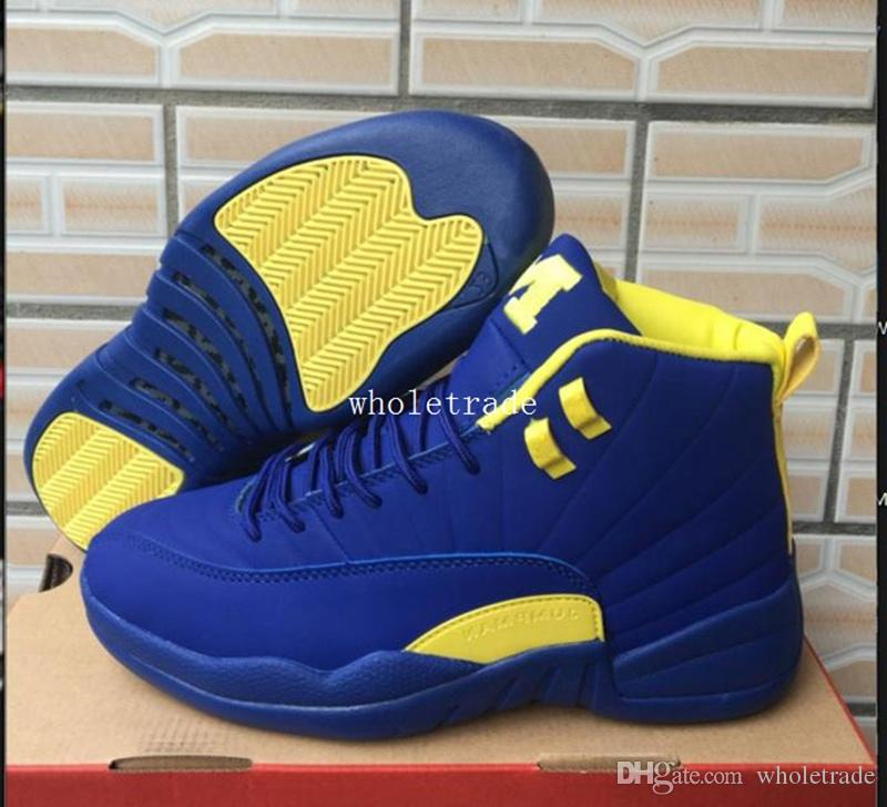 43c70a049712a9 Mens PSNY X 12 Michigan Pe Basketball Shoes 12s Michigan Navy Blue Yellow Sneakers  Size Us 7 13 Come With Box Discount Shoes Online Latest Shoes From ...