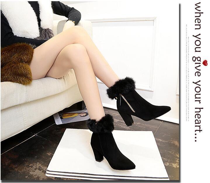 en gros! femmes automne hiver nouvelles bottes courtes mode européenne et américaine talon chunky pointes rugueuses avec des chaussures à glissière côté Martin