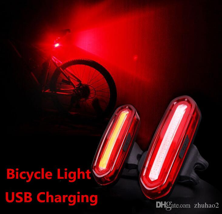 Bicycle light USB charging Lights Waterproof 3 Modes Bike Taillight red white blue Warning Light Bicycle Rear Bycicle Light Tail Lamp WW10