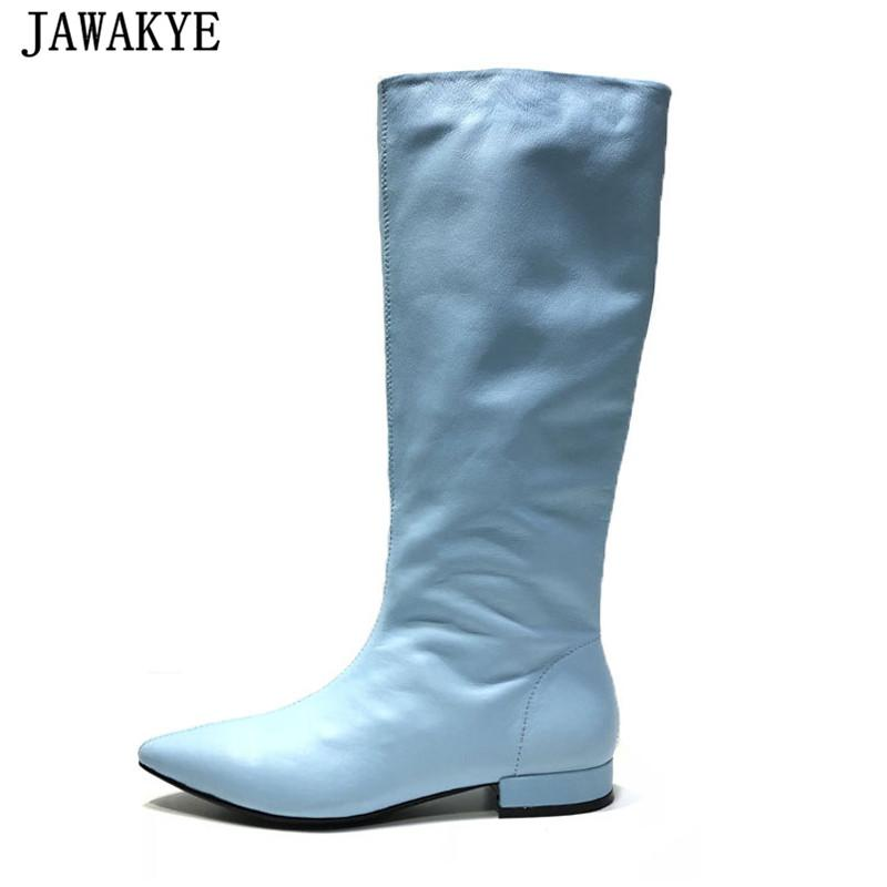 6f21fca131a 2018 Candy Color Over The Knee Boots Women Genuine Leather Flat Heel Knee  High Boots Western Pointed Toe Sexy Booties Feminina Ankle Booties Combat  Boots ...