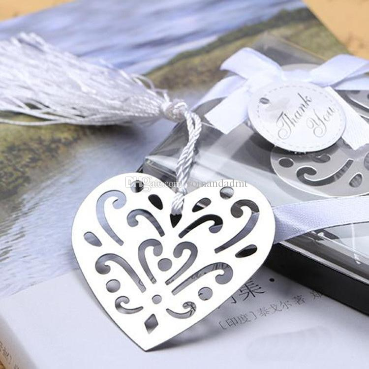 Silver Metal Hollow Heart Bookmark For Wedding Favors And Baby