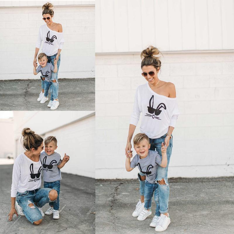 Adult Mom Son Family Matching Sweatshirt Women Boys Rabbit Printed T Shirt Mom Son Parent Kids Sweatershirt Baby Tops Clothing Matching Mother And Son