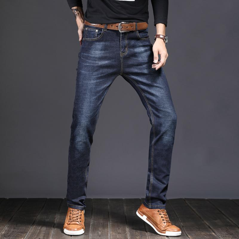 cc6826da69d 2019 Jeans Men Business Casual Simple Style Comfortable Denim Trousers 2018  New Fashion Spring Elasticity Black Slim Pants Size 28 38 From Beatricl