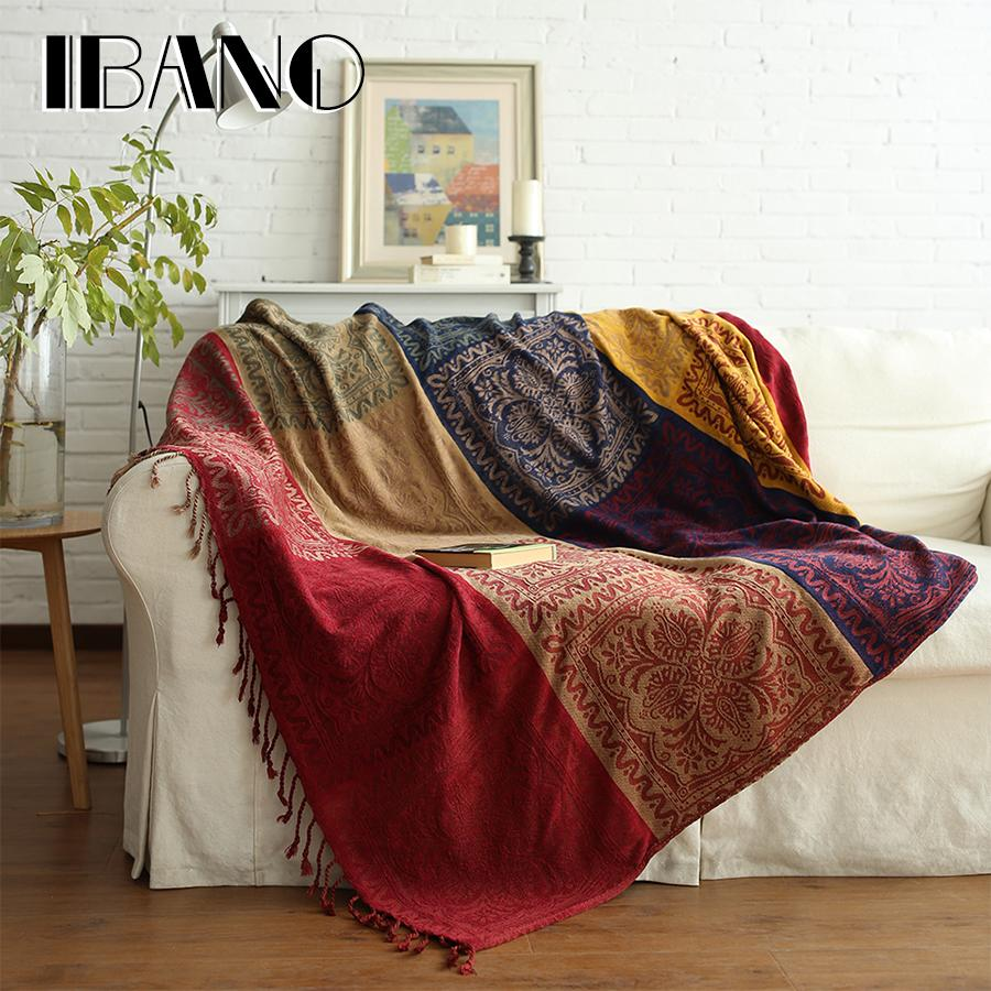 IBANO Bohemian Chenille Plaids Blanket Sofa Decorative Throws On ...