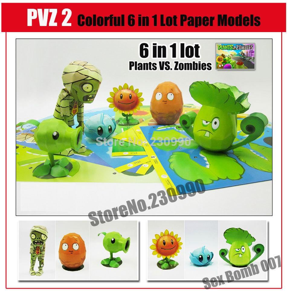 Game Plants vs  Zombies 5 plants 1 Zombie 3D Paper Model Kits For Kids  Adults Cartoon Character Paper Models Toys Of Hobby