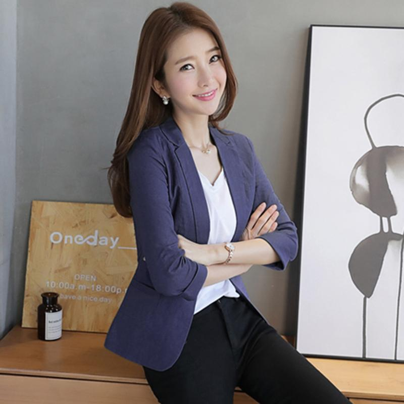 765994df 2019 New Fashion Slim Short Ladies Seven Sleeves Casual Suits Cotton And  Linen Small Women Suit Jacket Women Blazer Coat Outerwear From Bida Jany,  ...