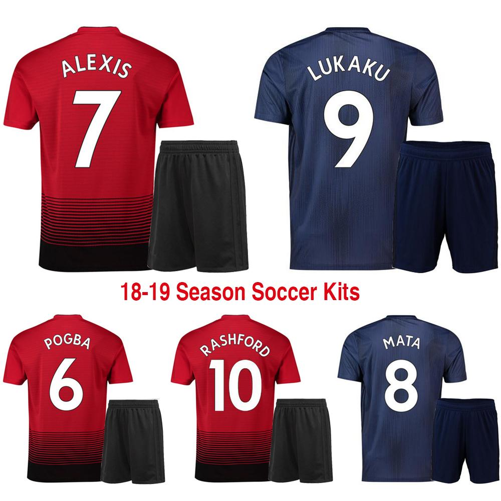 28fd6bc54b8 ... coupon code 2018 19 united man home third soccer sets of jersey shorts  male alexis pogba