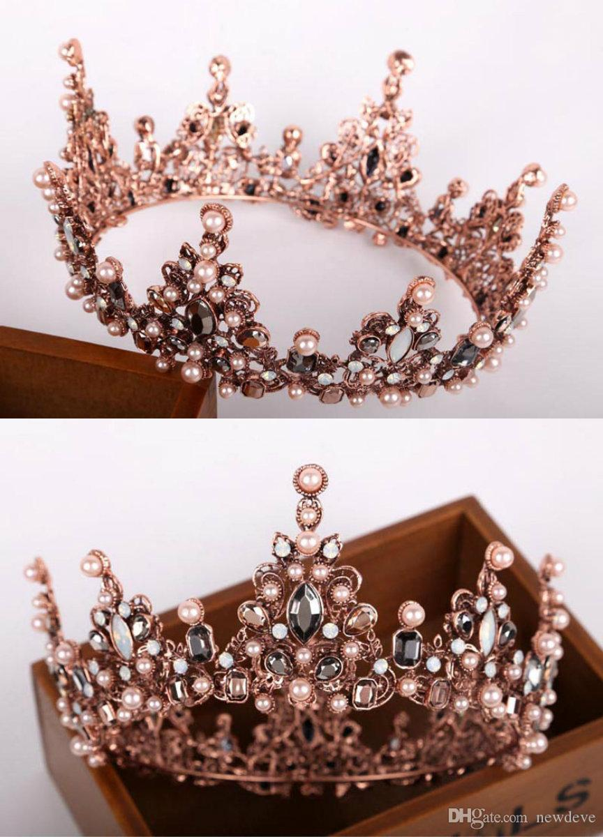 41eb55a8b4df 2018 Bridal Hair Accessories Elegant Rhinestone Faux Pearl Crown Rose Gold  Plated Bridal Jewels Handmade Crystal Bridal Jewelry Hair Flowers  Accessories ...