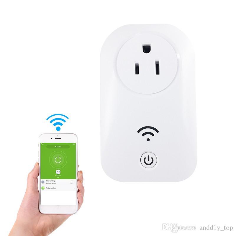 Smart Home WIFI Enchufes de alimentación Compatible con Alexa Sonoff Wifi Socket Outlet Automatización Aplicación de teléfono Interruptor de sincronización Control remoto EU Enchufe