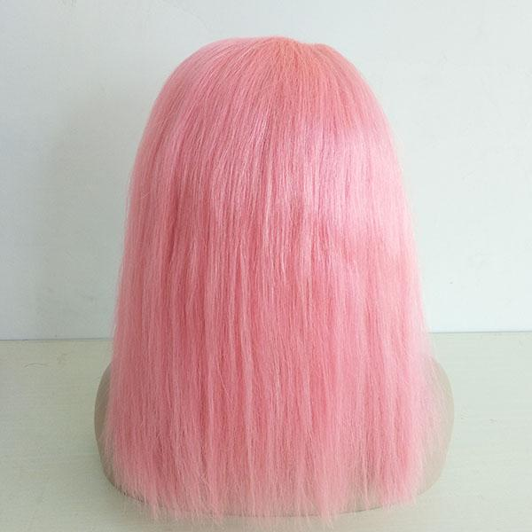 Beautiful Virgin Human Hair Bob Blunt Cut Straight Pink Human Hair Full Lace Wig With Natural Hairline For Young Women