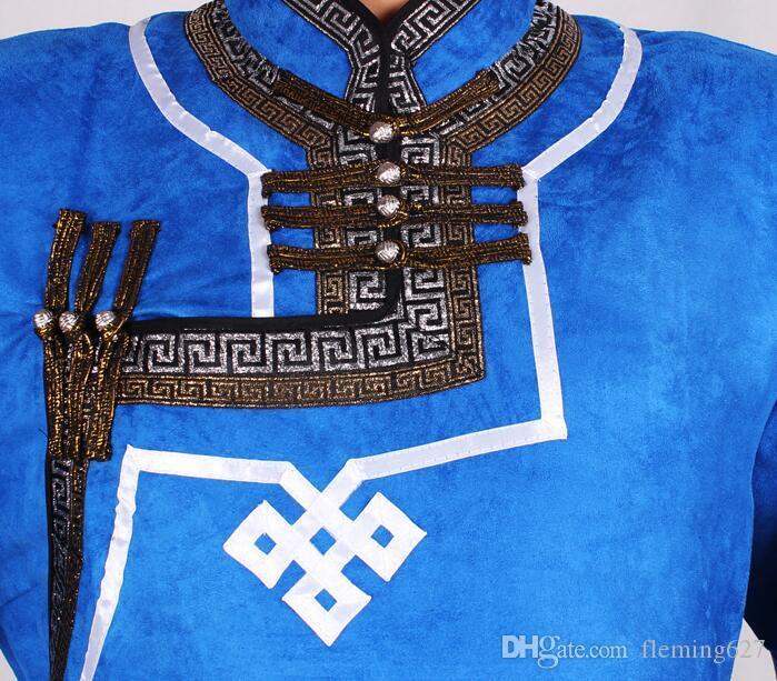 Ropa de Mongolia vestida de hombre traje de hombre imitación de terciopelo de piel de venado Mongolia ropa traje de túnica mongol atuendo trajes de danza folclórica de Mongolia
