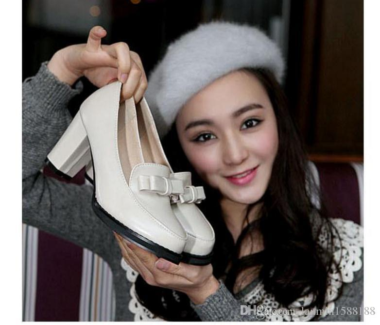 Free send Hot Spring and autumn big size single shoes 40 41 42 43 high heel 44 45 46 47 small size 33 Coarse heel with round head female
