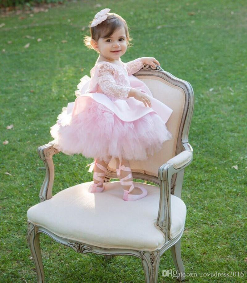 Lovely Little Flower Girls Dresses for Weddings with Bow Backless Lace Long Sleeves New Mother of the Bride Dresses