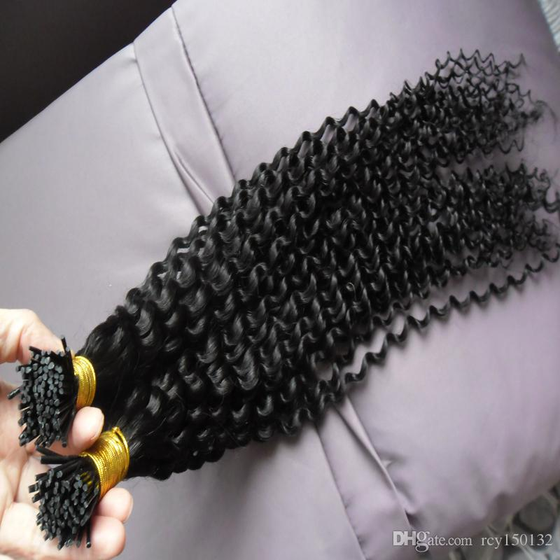 Jet Black Remy I Tip Human Hair Extension Kinky Curly 100% Human Fusion Stick Pre Bonded Hair Extension Keratin 200g 200s