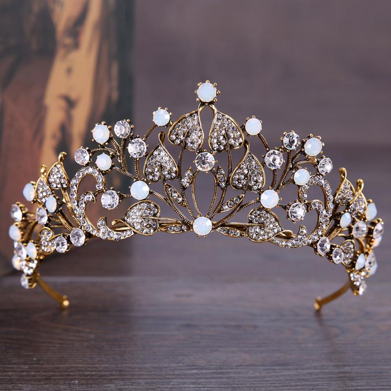 Роскошные Кристалл AB Bridal Crown Диадема Light Gold Диадема Диадема для женщин невесты Свадебных аксессуаров для волос