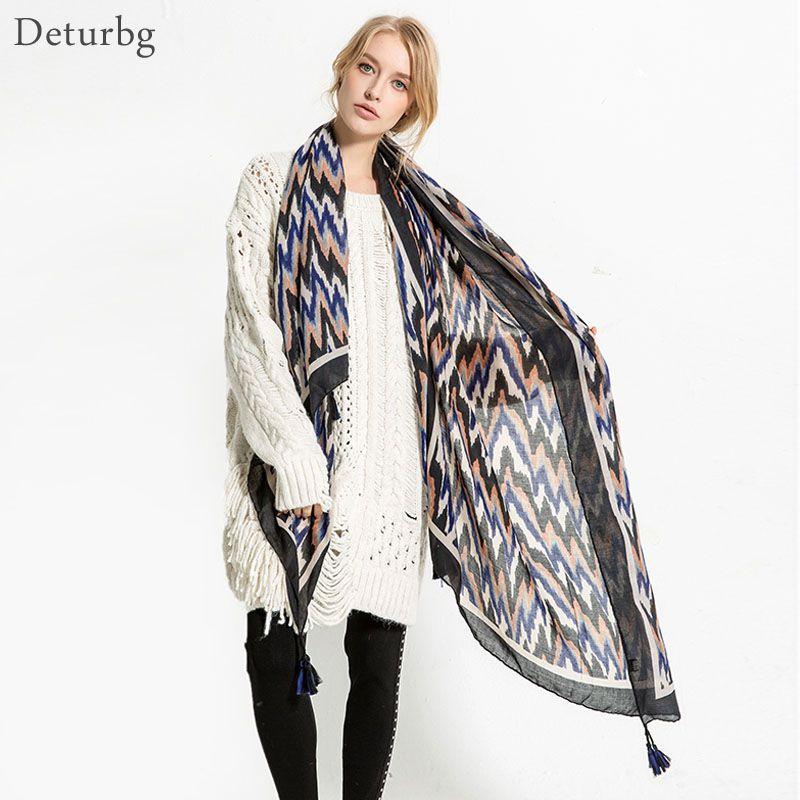 87fae0b28cf Deturbg Vintage Wave Striped Scarf Women s Bandana Cotton Linen Scarves For  Women Shawl Tassel 2018 Autumn Hijabs AW32