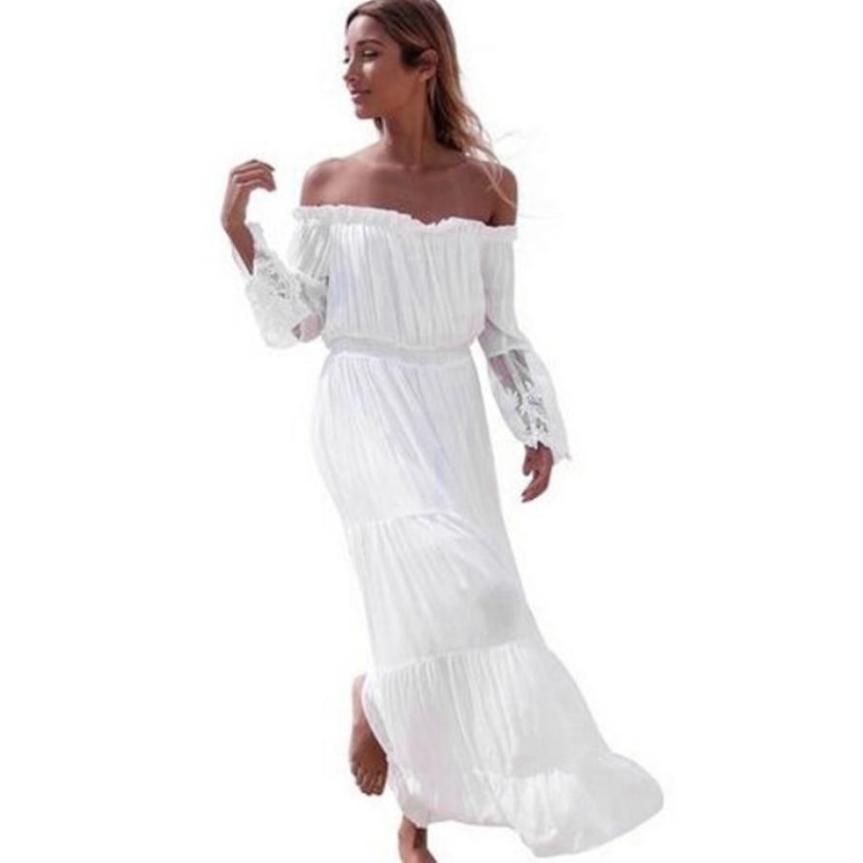 726fede51d Compre 2019 Novas Mulheres Da Moda Sexy Strapless Verão Vestidos De Praia  Longo Lace Costura Sem Alças Senhoras Vestido Feminino Vestidos Verano De  ...