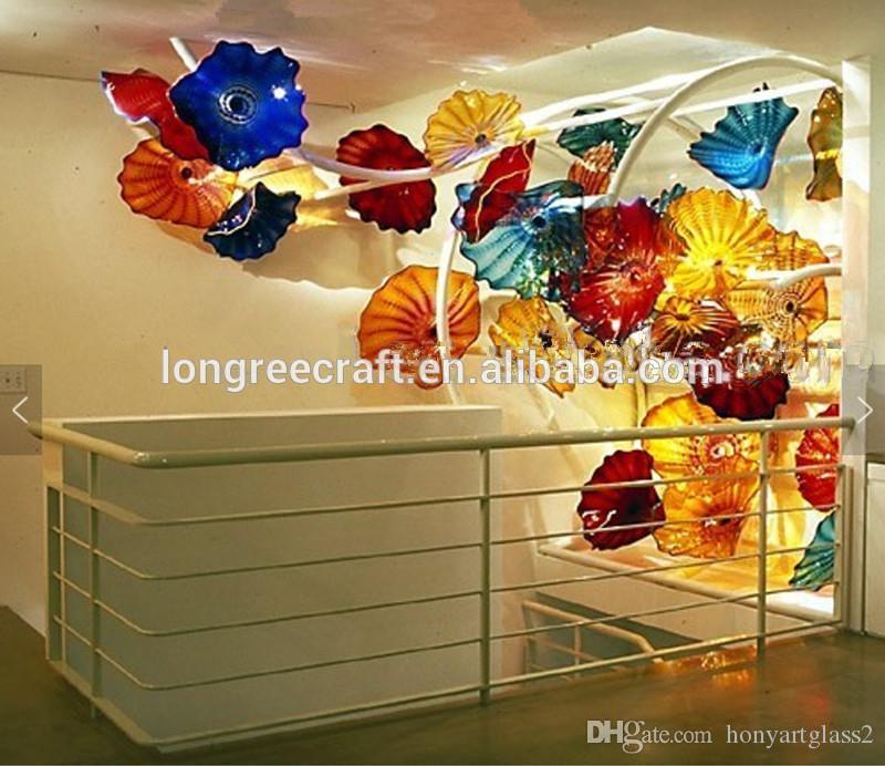 Wholesale Antiguo Murano Flower Lámpara de flores de estilo de arte de estilo de colores placas colgantes