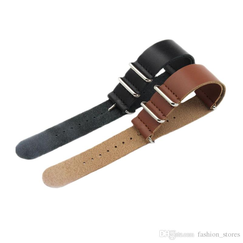 Genuine Leather Nato Strap Watch Band Bracelet For Most Watches with Steel Rings 20mm 22mm 24mm