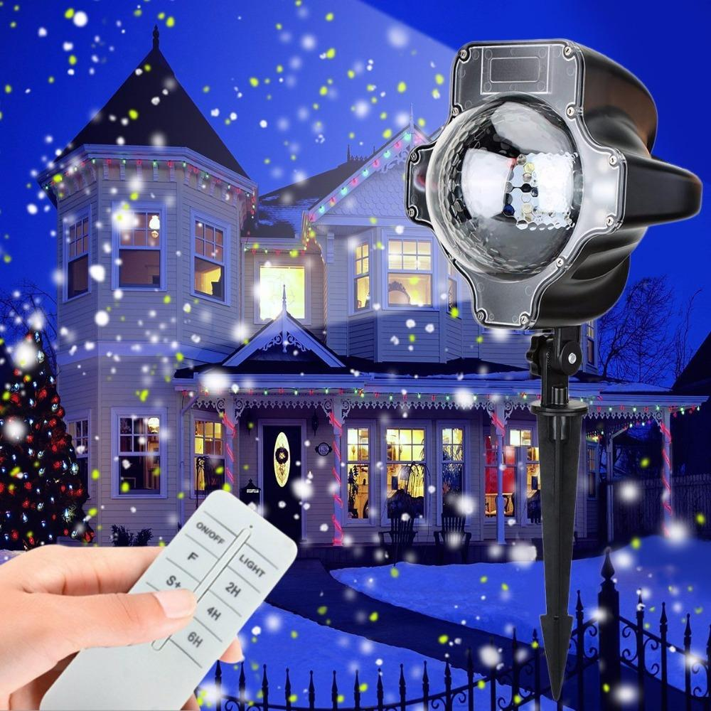 2018 christmas led snowfall projector light bluerotating waterproof white snowflake fairy landscape projection lights with remote from jinyucao - Christmas Led Projector